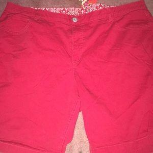 Red Bermuda shorts